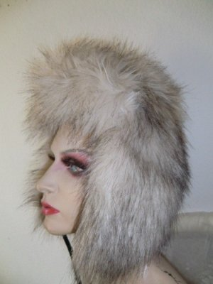 Fur Hat grey brown