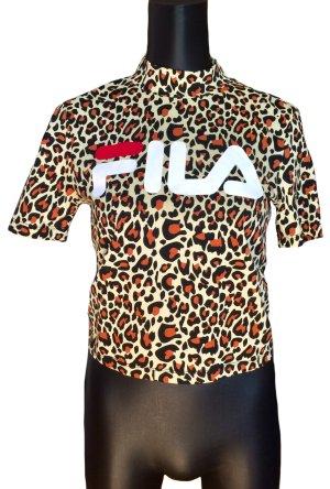 NEU! FILA Kurzes T-Shirt mit Leo-Print und Stehkragen