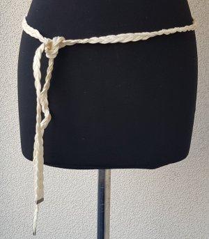 Cinturón trenzado crema