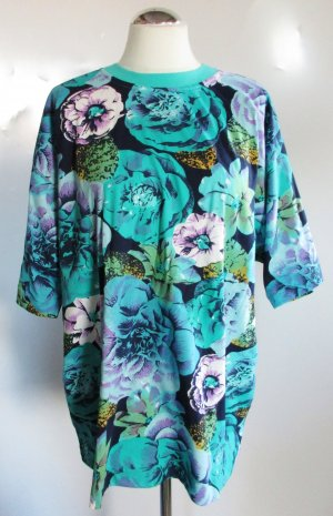 Neu Florales Sport T Shirt MissJoy Größe L 42 Blau Grün Lila Digital druck Flower Blumen Rosen Longshirt Jersey Hawaii