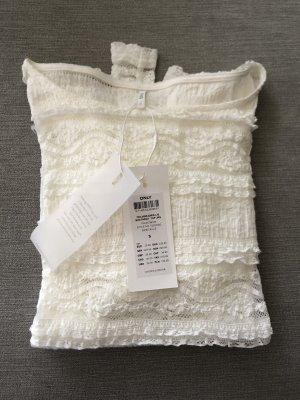 Only Camisa de ganchillo blanco puro-blanco