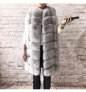Fur vest light grey-grey pelt