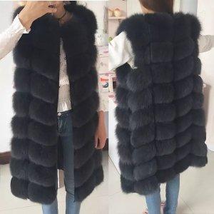 Deluxe Furs Gilet en fourrure gris anthracite-noir fourrure