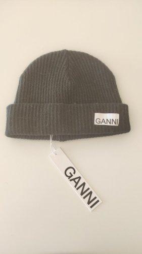 Ganni Knitted Hat black alpaca wool