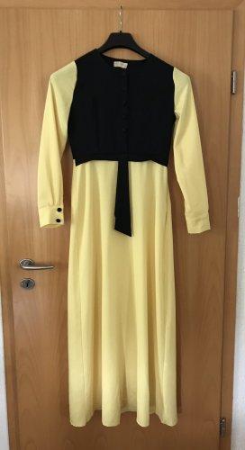 Neu Gelb schwarzes langes Kleid mit Knöpfen / kapali elbise