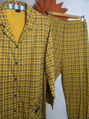 Schiesser Pyjama dark yellow-dark blue cotton