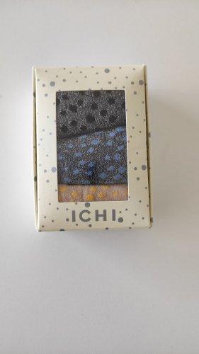 Neu Geschenkbox Set Ichi Glitzersocken Highlight Pünktchen Dots Silber Schwarz Gelb Blau