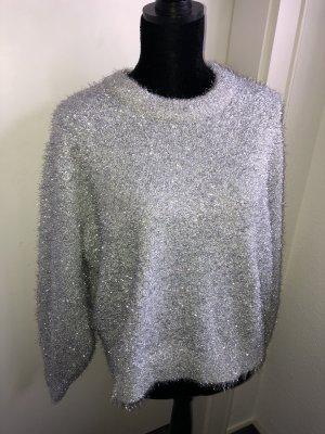 Neu! Glitzer Pulli Pullover Silber Sweater Sweatshirt Oberteil