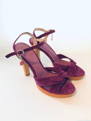 Görtz 17 Sandały na grubym obcasie ciemny fiolet-jasny pomarańczowy Skóra
