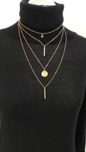 Neu Gold Halskette Vintage Boho Multilayer Lange Stern