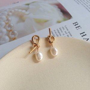 neu goldene knoten Ohrringe mit natürlichen echten Barock Perlen