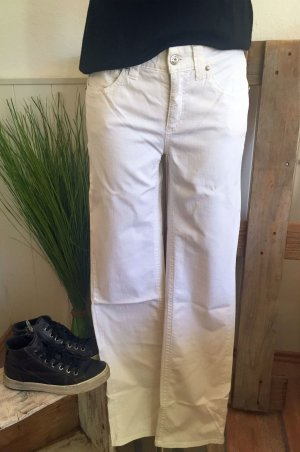 Cambio Jeans Dopasowane jeansy biały Bawełna