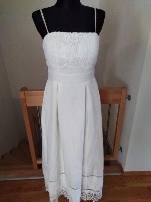 Neu Gr. 40 Vintage Boho Brautkleid Kleid Hochzeitskleid Maxikleid ivory Lochspitze spitze Baumwollspitze creme Standesamt Empire A Linie