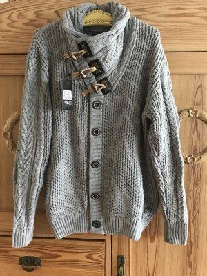 Forty Four Veste tricotée en grosses mailles gris acrylique