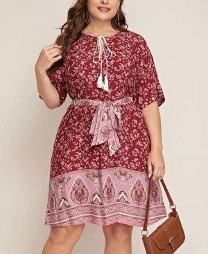 Robe Hippie blanc-rouge