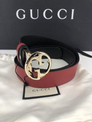 Gucci Ceinture en cuir noir-rouge foncé