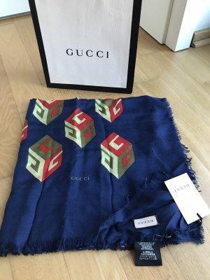 Gucci Écharpe en soie bleu foncé