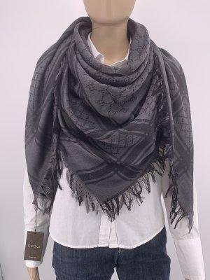 Gucci Écharpe en laine gris anthracite-noir
