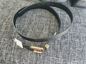 C&A Cinturón de cuero de imitación negro-color oro