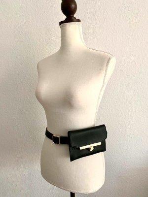 NEU Gürtel mit Tasche Taschengürtel Festivalgürtel Festival schwarze mit goldenen Details