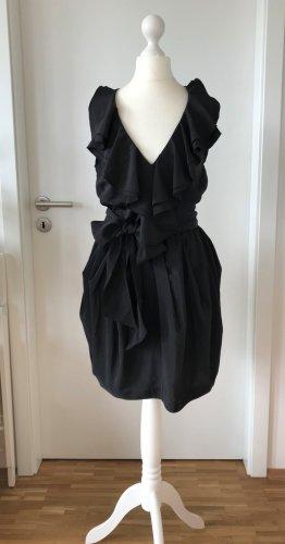 NEU H&M Abend Kleid Kleines Schwarzes LBD 34 XS Cocktail Hochzeit Rüschen Party