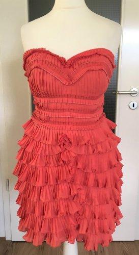 NEU H&M Abend Kleid XS 34 Rüschen Cocktail Party Hochzeit Ballkleid Koralle Minikleid