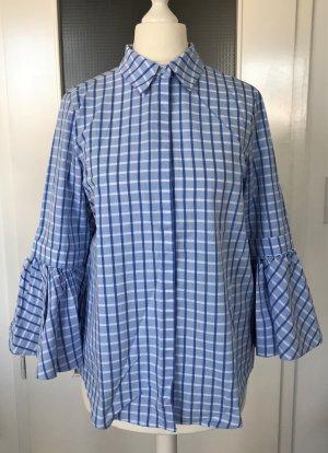 NEU H&M Bluse XS 34 Blau Weiß Vichy Karo Tunika Top Streifen Peplum Ärmel Shirt