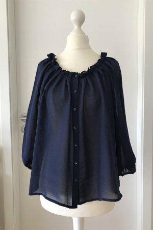 NEU H&M Bluse XS 34 Marine Tunika Chiffon Shirt Oversize Sommer Top Oberteil