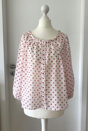 NEU H&M Bluse XS 34 Polka Dots Tunika Chiffon Shirt Oversize Sommer Top Oberteil