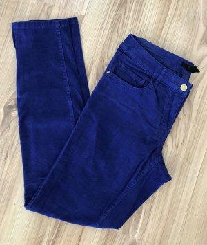 NEU H&M Cordhose XS 34 Blau Super Slim Fit Hose Röhrenhose Skinny Chino Biker