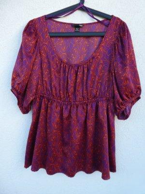 NEU - H&M – Damen Bluse, gemustert in lila und orange