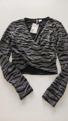 Neu H&M Glitzer Wickeltop Bluse XS/S Pailette Party Edel Hingucker Animal Tiger Highwaist