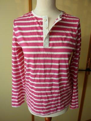 NEU H&M Henleyshirt Gr. 170 S 36 pink weiß Streifenshirt Langarmshirt Knopfleiste