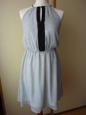 NEU H&M Kleid Gr. 36 midi schwarz weiß Chiffon Sommerkleid schwingend schulterfrei Cocktailkleid Tupfen Polka Dots
