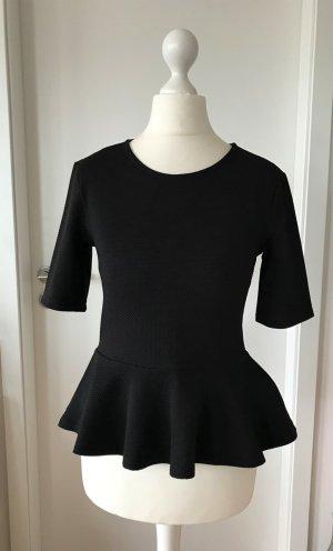 NEU H&M Peplum Bluse XS 34 Schwarz Top Schößchen Shirt Tailliert Business