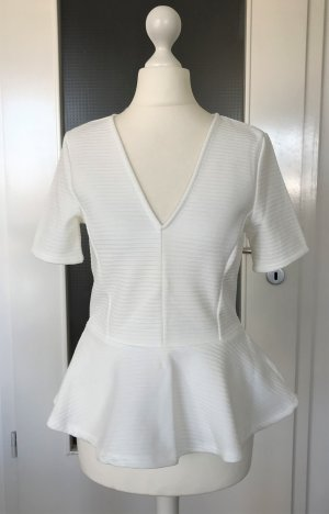 NEU H&M Peplum Bluse XS 34 Weiß Top Schößchen Shirt Rüschen Tailliert Business