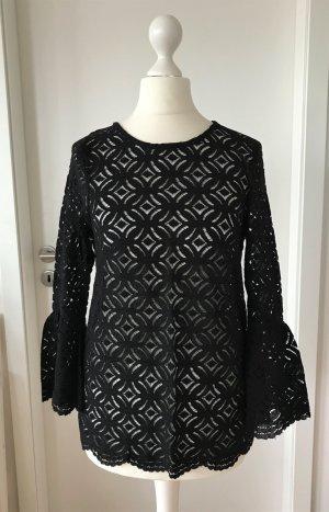 NEU H&M Peplum Spitze Bluse XS 34 Schwarz Top Schößchen Shirt Tailliert Business