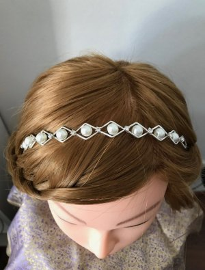 Diadema color plata-blanco