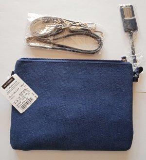 NEU-HALLHUBER Handtasche Clutch, NP 29€, Blau Jeansblau, Canvas Stoff, STYLISH