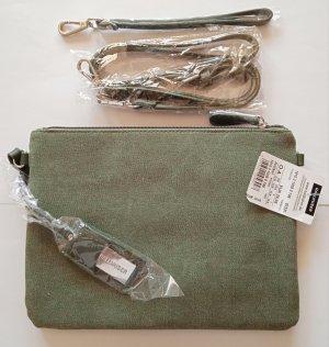 NEU-HALLHUBER Handtasche Clutch, NP 29€, Olive Dunkelgrün, Canvas Stoff, STYLISH