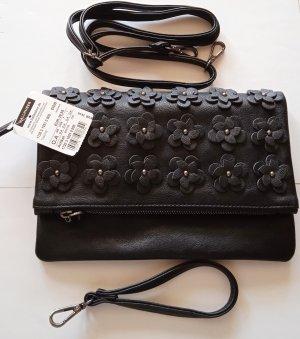NEU-HALLHUBER Handtasche Clutch, NP 39€, Blüten, schwarz, süße Details, STYLISH