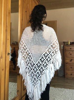 Handmade Écharpe en crochet blanc-blanc cassé