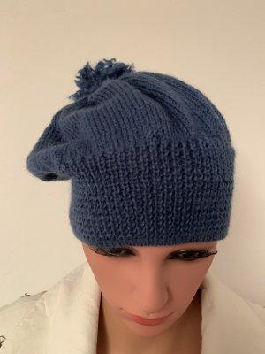 Handmade Beanie blauw-staalblauw Wol