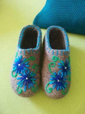 Slipper Socks silver-colored-blue wool