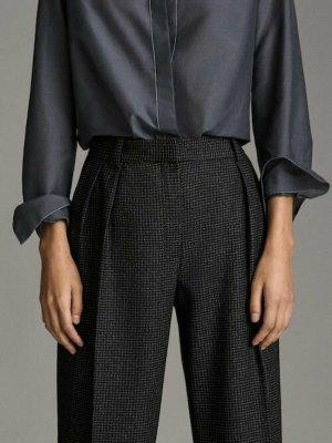 Massimo Dutti Pantalon taille haute noir