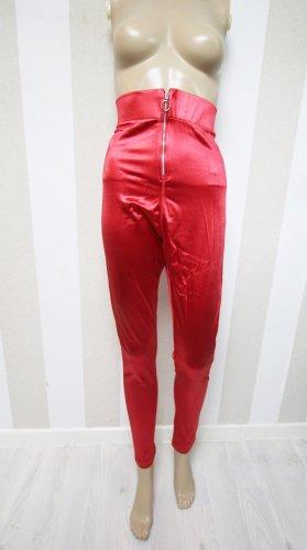 Topshop Pantalón de cintura alta color plata-rojo
