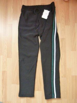 NEU Holala Chillerhose Gr. 36 schwarz weiß grün Galonstreifen sehr warm Teddyfutter Trainer Jogginghose Loungewear Sweathose