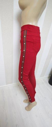 Treggingsy czerwony-ciemnozielony