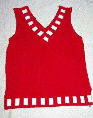NEU Hübsche Bluse Strickbluse Rot / Weiß NEU Gr. S 36 38