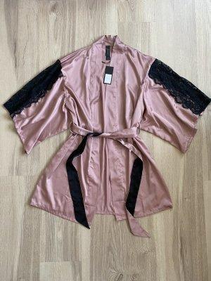 *NEU* hunkemöller Noir Collection Kimono XS / S Morgenmantel Bademantel rosa schwarz